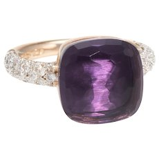 Pomellato Nudo Maxi Ring Amethyst Diamond 18 Karat Rose Gold Estate Fine Jewelry 6