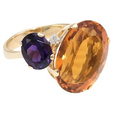 Citrine Amethyst Diamond Cocktail Ring Vintage 18 Karat Yellow Gold Estate Jewelry