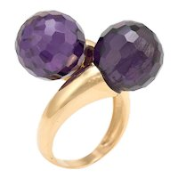 Amethyst Bypass Ring Double Orb Moi et Toi 18 Karat Yellow Gold Vintage Jewelry 5.75