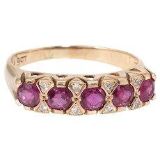 Ruby Diamond Anniversary Band Ring Vintage 9 Karat Yellow Gold Estate Jewelry Sz 7