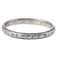 Antique Deco Wedding Band Ring Sz 7 Vintage 18 Karat White Gold Fine Jewelry