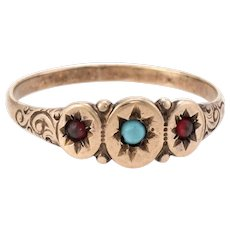 Antique Victorian Turquoise Garnet Signet Ring Vintage 10k Rose Gold
