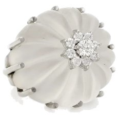 Fluted Rock Crystal Diamond Ring Dome Cocktail Vintage 18 Karat White Gold Jewelry