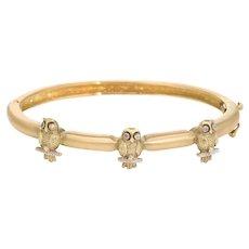 Three Owls on a Bangle Bracelet Estate 18 Karat Yellow Gold Vintage Diamond Jewelry