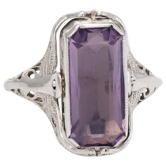 Vintage Art Deco Flip Ring Onyx Amethyst 14 Karat White Gold Estate Fine Jewelry