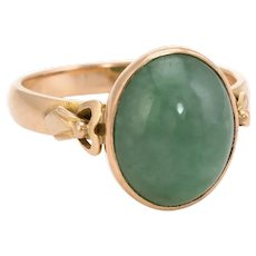 Oval Jade Cocktail Ring Vintage 14 Karat Yellow Gold Estate Fine Jewelry Pre Owned 6