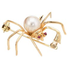 Spider Brooch Pendant Ruby Eyes Cultured Pearl Vintage 14 Karat Yellow Gold Estate