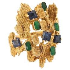 Retro 70s Sapphire Green Enamel Abstract Freeform Cocktail Ring Vintage 18 Karat Gold