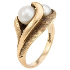 Vintage Cultured Pearl Ring 14 Karat Yellow Gold Cocktail Sz 5 Estate Fine Jewelry