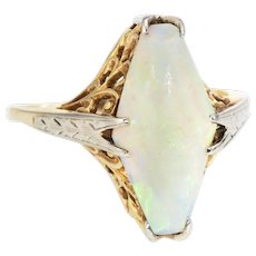 Vintage Art Deco Opal Cocktail Filigree Ring 14 Karat Two Tone Gold Estate