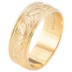 Wedding Band Ring Sz 6 Vintage 14 Karat Yellow Gold Estate Fine Bridal Jewelry