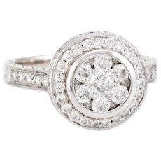 Diamond Cluster Ring Vintage 14 Karat White Gold 1.10 ctw Round Halo Estate Jewelry