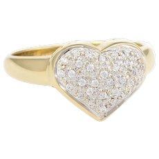 Pave Diamond Heart Ring Vintage 14 Karat Yellow Gold Estate Fine Jewelry Sz 6.25