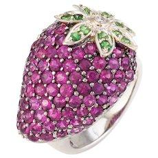 Strawberry Cocktail Ring Estate Ruby Tsavorite Garnet Diamond Fruit Jewelry 5.5