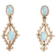 Opal Drop Earrings Vintage 14 Karat Yellow Gold Estate Fine Jewelry Screw Backings