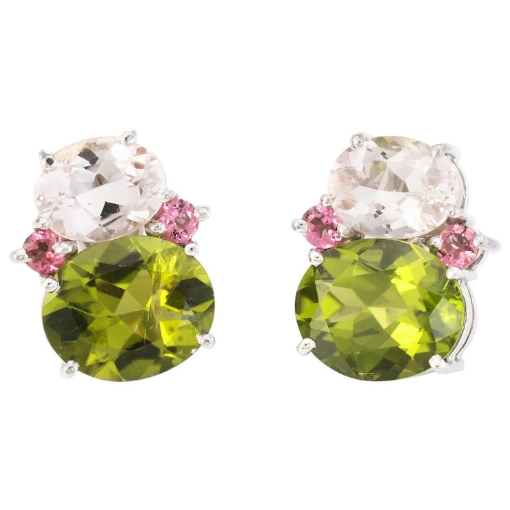 Peridot Pink Tourmaline Earrings Estate 18 Karat White Gold Fine Jewelry Pre Owned
