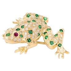 Frog Pendant Brooch Vintage Diamond Emerald Ruby 18 Karat Yellow Gold Jewelry