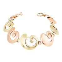Tiffany & Co Vintage Bracelet 14 Karat Rose & Yellow Gold Swirl Snail Shell Signed