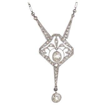 Antique Edwardian Diamond Platinum Drop Necklace Vintage Fine Jewelry Heirloom