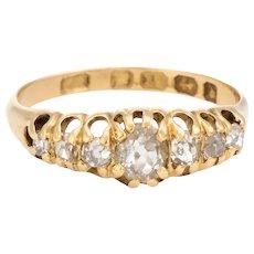 Graduated 7 Old Mine Cut Diamond Ring Antique Victorian c1878 18 Karat Gold Sz 7.25