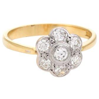Forget Me Not Antique Victorian Diamond Cluster Ring Vintage 18 Karat Gold Platinum