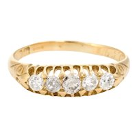 Graduated 5 Old Mine Cut Diamond Ring Antique Edwardian c1907 18 Karat Gold Sz 7.5
