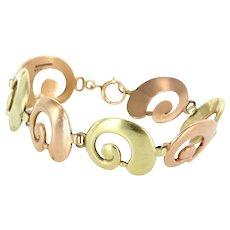 Tiffany & Co Vintage 14 Karat Rose & Yellow Gold Swirl Bracelet Estate Designer Jewelry