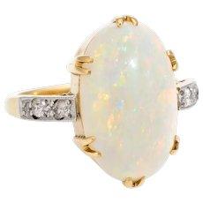 Vintage Art Deco Opal Diamond Ring 18 Karat Yellow Gold Estate Fine Jewelry Sz 6