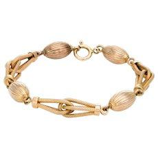 Textured Gold Link Bracelet Vintage 9 Karat Yellow Gold 13.1gm Fine Jewelry 8 Inches