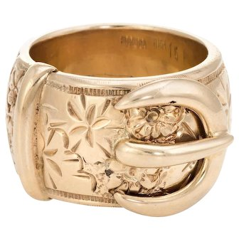 Large Buckle Ring Vintage 9 Karat Yellow Gold Size 9 3/4 Men's Band Etched Flowers