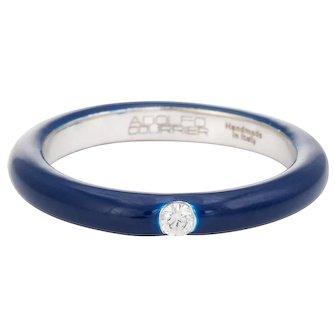 Adolfo Courrier Navy Blue Enamel Diamond Stacking Ring 5.5 18 Karat Gold Fine Jewelry