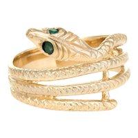 Vintage Snake Ring 14 Karat Yellow Gold Emerald Eyes Alternative Wedding Band Sz 7