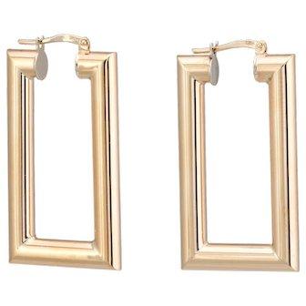 Vintage Long Square Hoop Earrings 9 Karat Yellow Gold Estate Jewelry Gift English