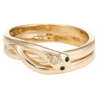 Vintage Snake Ring 9 Karat Yellow Gold Diamond Emerald Alternative Wedding Band 9.5