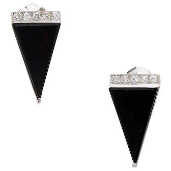 Vintage Diamond Onyx Triangle Earrings Platinum Estate Fine Jewelry Statement