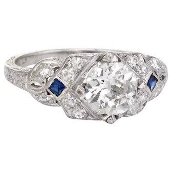Vintage 900 Platinum Diamond Engagement Ring Art Deco 1.24ctw Estate Fine Jewelry