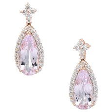 Estate Morganite Diamond Drop Earrings Pear 14 Karat Rose Pink Gold Fine Jewelry