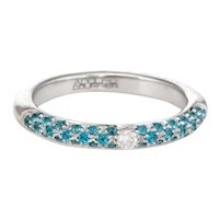 Adolfo Courrier Pave Turquoise Diamond Stacking Ring 18 Karat Gold Sz 6.75 Jewelry