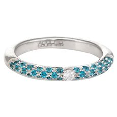 Adolfo Courrier Pave Turquoise Diamond Stacking Ring 18 Karat Gold Sz 6.75 Jewelry