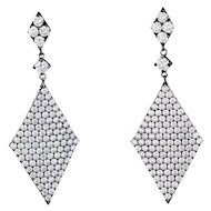Diamond Triangle Pendant Drop Earrings 18 Karat Blackened Gold Estate Contemporary