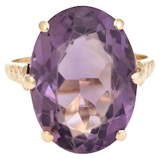 Vintage Amethyst Ring 9 Karat Yellow Gold Large Cocktail English Estate Fine Jewelry