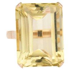 Vintage Citrine Ring 18 Karat Yellow Gold Large Statement Cocktail Emerald Cut 5.75