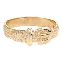 Vintage Buckle Ring 9 Karat Yellow Gold Belt Stacking Ring c1979 English Jewelry