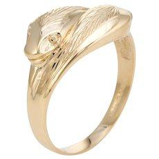 Vintage Snake Ring 9 Karat Yellow Gold Double Headed Alternative Wedding Band Sz 11