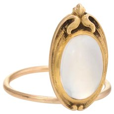 Antique Art Nouveau Moonstone Conversion Ring 10 Karat Yellow Gold Vintage Jewelry