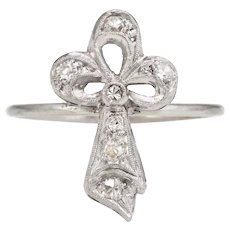 Antique Clover Conversion Ring Art Deco Diamond 14 Karat White Gold Platinum Fine