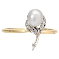 Antique Victorian Flower Conversion Ring Diamond Pearl 10 Karat Yellow Gold Jewelry
