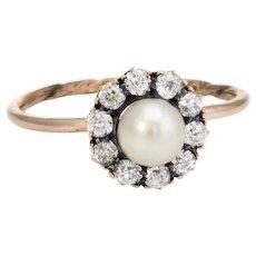 Antique Victorian Diamond Pearl Conversion Ring Halo 10 Karat Gold Fine Jewelry 5.75