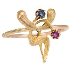 Antique Art Nouveau Abstract Conversion Ring Ruby Sapphire 14 Karat Yellow Gold