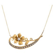 Antique Crescent Moon Conversion Necklace Victorian Seed Pearl Flower 14 Karat Gold